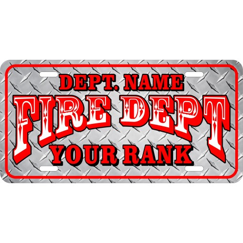 Fire Department Custom License Plate 12 Photo Quality
